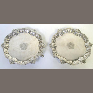 A pair of George II silver waiters,  by William Peaston,  London 1754,  (2)