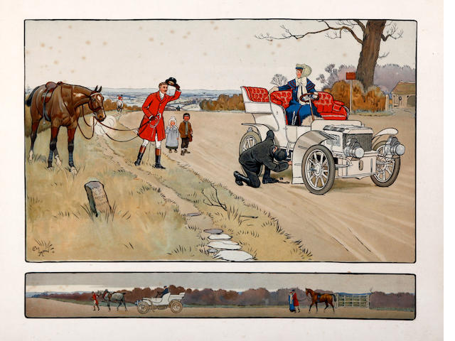 Cecil Charles Windsor Aldin, RBA (British, 1870-1935) An early motoring humorous encounter between a motorist and a huntsman