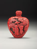 A carved cinnabar lacquer 'figures' snuff bottle Probably Imperial, 1730-1800