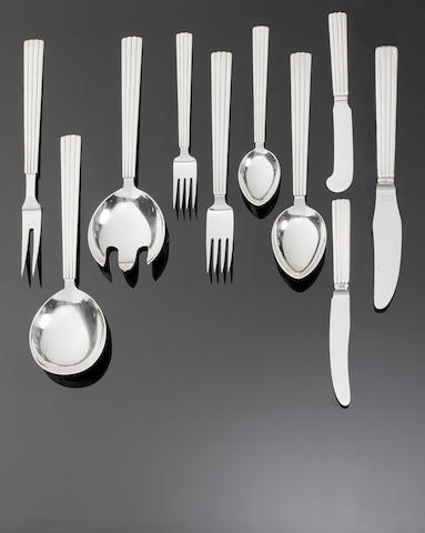 GEORG JENSEN: A silver Bernadotte pattern table service of flatware and cutlery post 1945 mark, also incuse mark STERLING DENMARK  (53)