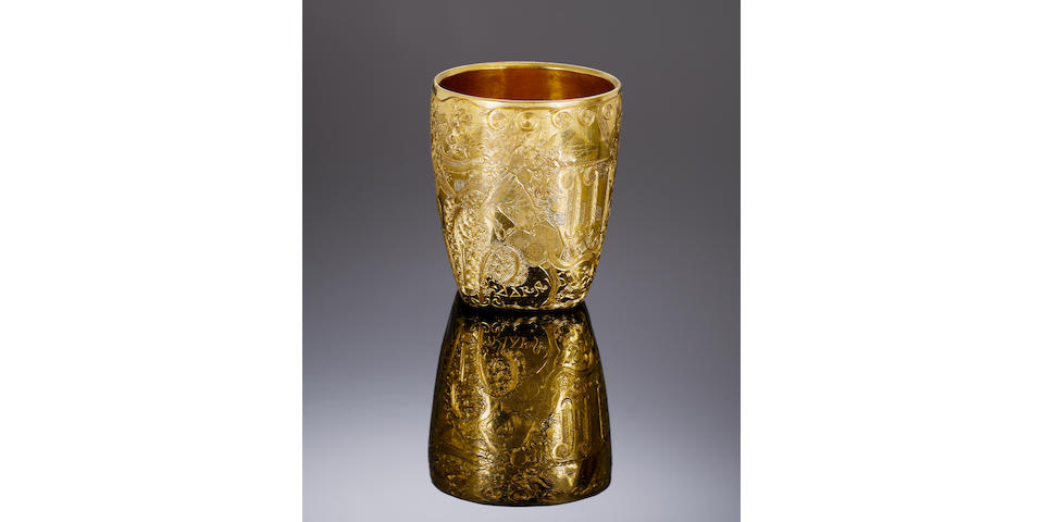 LOUIS OSMAN AND MALCOLM APPLEBY:  A unique and important finely engraved 22 carat gold 'Prince of Wales Cup', by Louis Osman, engraved by Malcolm Appleby, London 1970, with engraved facsimile signiature M A APPLEBY,