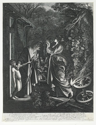 Hendrik Goudt (Utrecht 1583-1648) Ceres Seeking her Daughter Etching and engraving, 1610, after Adam Elsheimer, 314 x 238mm (12 3/8 x 9 3/8in)(SH), together with another, 'Jupiter and Mercury in the house of Philemon and Baucis' (B6), 1612, 210 x 233mm (8 1/4 x 9 1/8in)(SH), plus 'The Flight into Egypt' (B3), 1613, 346 x 403mm (13 5/8 x 15 7/8in)(SH), all on laid and trimmed inside the platemark 3 unframed