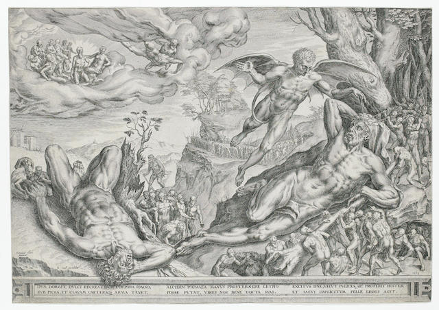 Cornelis de Cort (Dutch, 1533-1578) A collection of engravings Including 'Hercules beseiged by Pygmies', two impressions of 'Holy Family with St Anne and St John', 'Allegory on the Immortality of Virtue', 'St Jerome in the desert', 'The body of St Jerome supported by angels', 'Roger flying to the rescue of Angelique', 'Holy family with a cat', 'The Dispute on the Sacrament', 'Mary Magdalene in Penitence', 'The Birth of the Virgin', on laid, 324 x 462mm (12 3/4 x 18 1/4in)(PL)(and smaller) 11 unframed