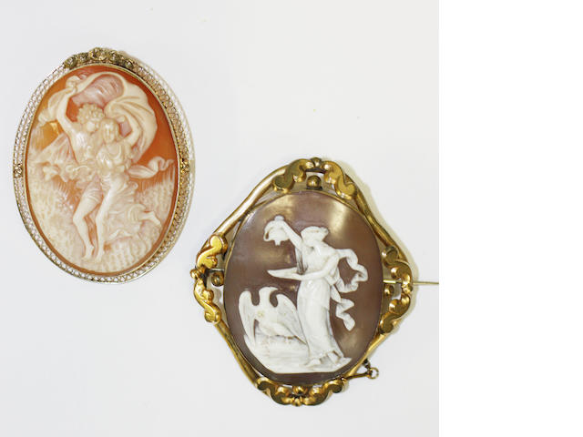 Two oval shell cameo brooches