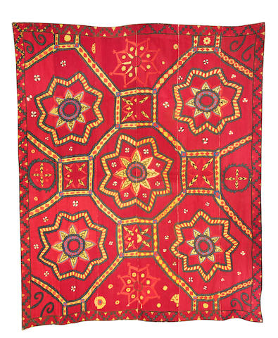 A large Tashkent silk embroidered Susani Central Asia, 19th Century