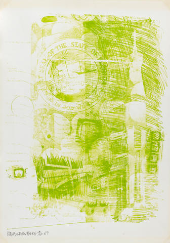 Robert Rauschenberg (American, 1925-2008) Marsh, from Stoned Moon series Lithograph, 1969, on wove, signed, dated and numbered 26/60 in pencil, published by Gemini, GEL, Los Angeles, with their blindstamp, 902 x 635mm (35 1/2 x 25in)(SH)(unframed)
