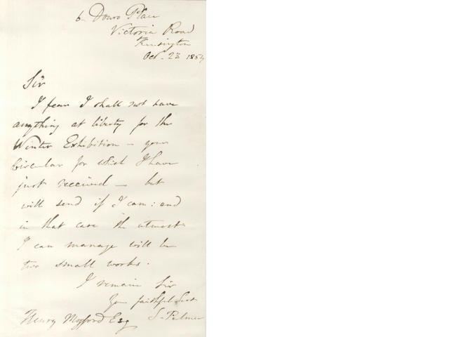 PALMER (SAMUEL) Autograph letter signed, 1854