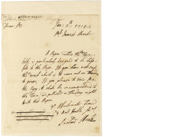 STEELE (RICHARD) Autograph letter signed, to the librettist John Hughes, 1716