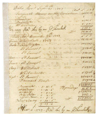 "THORNHILL (JAMES) Document signed in three places, listing ""Bills Received"" for the Coronation [of King George II], 1727"