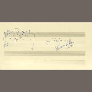 WALTON (WILLIAM) Autograph musical quotation signed, 1971