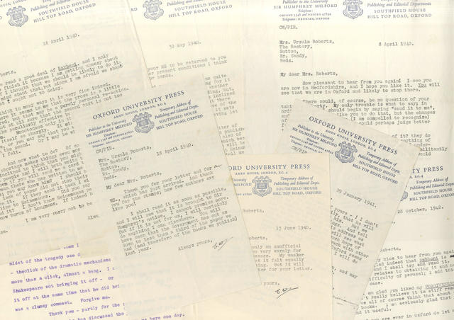 WILLIAMS (CHARLES) Series of seven typed letters signed, to the author, feminist and peace-campaigner Ursula Roberts, 1934-1942