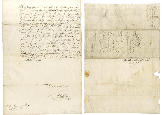 BURGHLEY and Sir EDWARD HOBY  Autograph minute signed by William Cecil, Lord Burghley, [1596]; and a letter signed by Hoby (2)