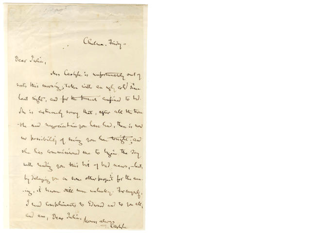 CARLYLE (THOMAS) Autograph letter signed, 1851