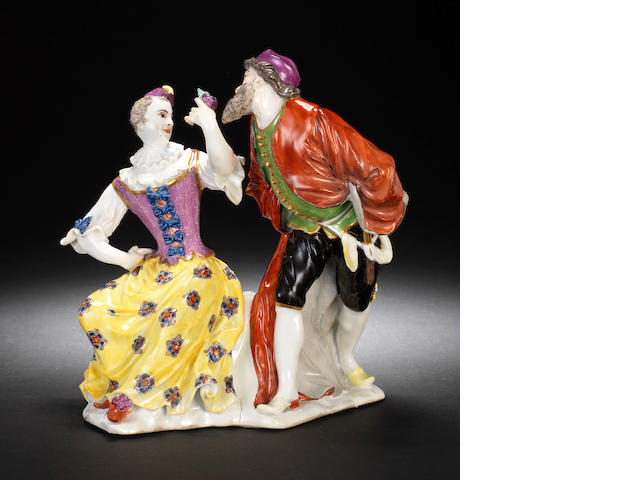 An important Meissen group of Colombine and Pantalone, circa 1736