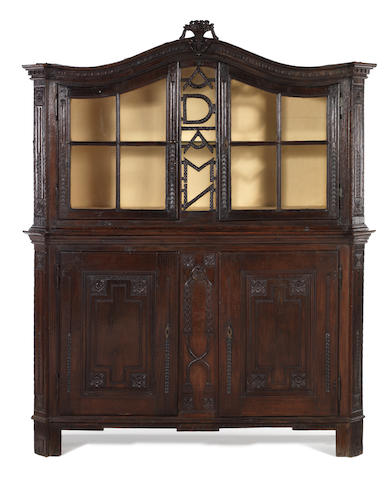 A Dutch early 18th century oak display cabinet