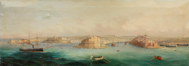 Girolamo Gianni (Italian, 1837-1895) The Grand Harbour, Malta