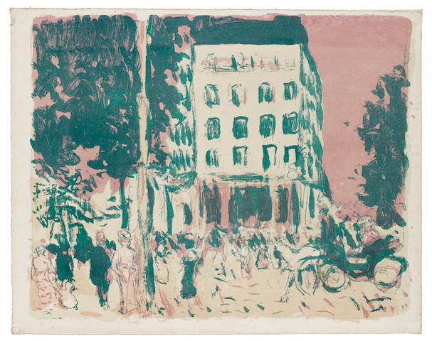 Pierre Bonnard (French, 1867-1947) Les Boulevards Lithograph, printed in colours, on china paper, with narrow margins, from the edition of 100, 280 x 352mm (11 x 13 7/8in)(SH)