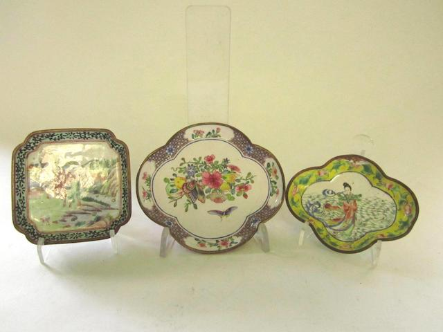 Two losenge shaped and one square Canton enamel pin trays 19th century