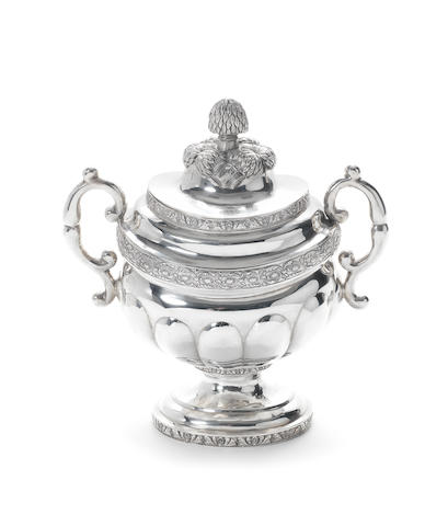 An American two-handled large covered sugar bowl, by William B. North & Co, circa 1822-29,