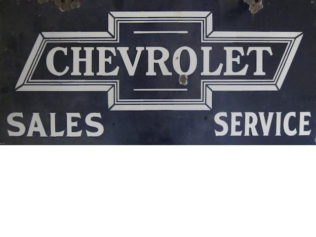 A rare and early double sided Chevrolet Sales & Service enamel forecourt sign.