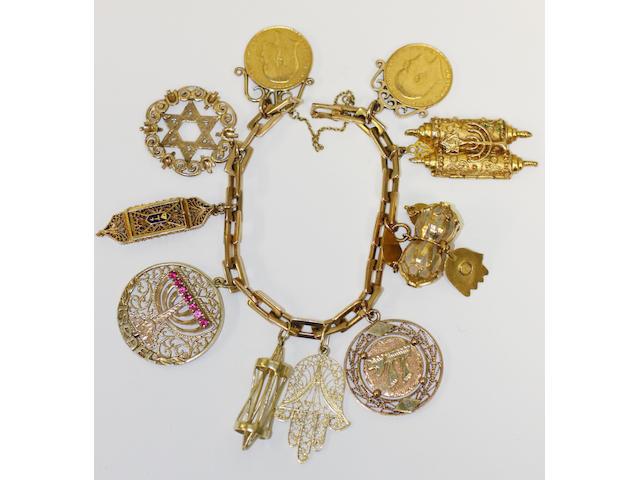 A belcher-link charm bracelet,