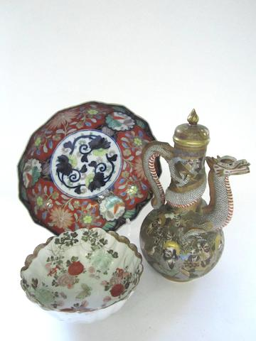 A Satsuma coffee pot with a dragon spout and two bowls