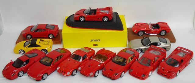 Twelve 1:18 scale Ferrari models,