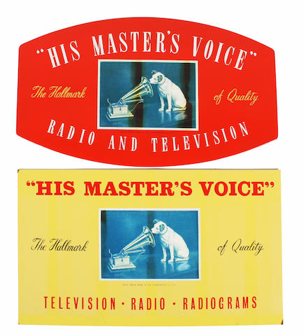 A pair of large HMV posters for the model 157 gramophone, 4