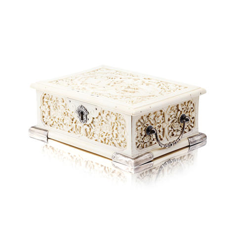 An export ivory casket 19th century