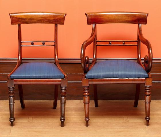 A rare set of 20 Australian cedar dining chairs including two carvers Tasmania, circa 1830