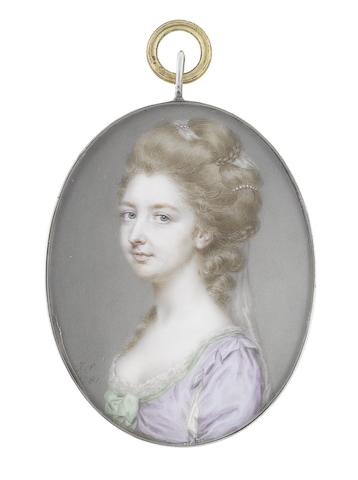 John Smart (British, 1742-1811) Mrs. Sarah Tyssen (1756-1790) née Boddicott, wearing lavender dress, slashed at the sleeve to reveal white, white lace slip visible to her décolleté trimmed with fine green ribbon, a green ribbon bow to her corsage, her hair elaborately upswept and dressed with strands of pearls and a sheer white veil