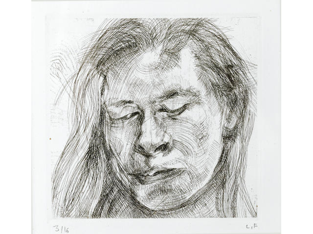 Lucian Freud (British, 1922-2011) Head of a Girl I  Etching, 1982, signed and numbered 3/16 in pencil, proofed and printed by Terry Wilson of Palm Tree Studios, with their blind stamp lower left; 111 x 114mm (4 1/4 x 4 1/2in)(PL), 265 x 238mm (10 3/8 x 9 3/8in)(SH)