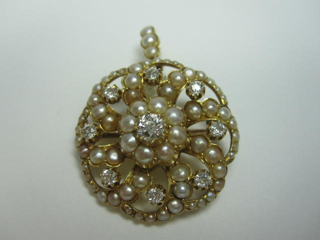 A late Victorian pearl and diamond brooch/pendant