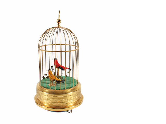 A double-singing birds-in-cage, by Karl Griesbaum, circa 1950,