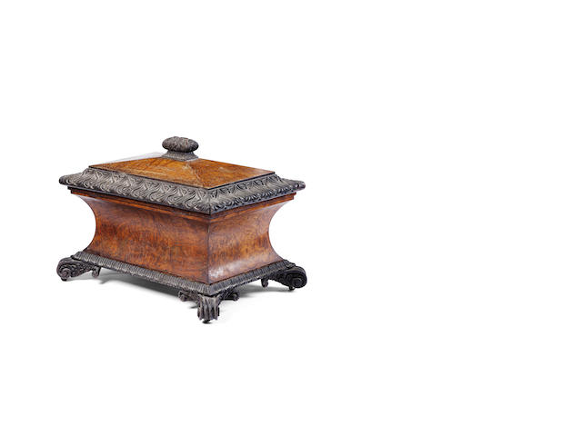 A George IV burr oak sarcophagus-shaped wine cooler