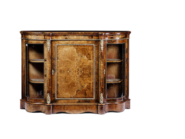 A Victorian burr walnut and marquetry breakfront credenza