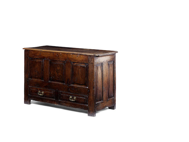 An early 18th century oak mule chest