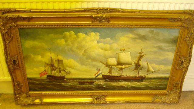 20th Century School - Ships and boats in choppy seas, 59 x 120cm.