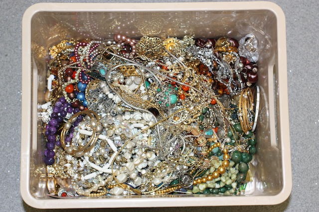 A large collection of assorted costume jewellery.