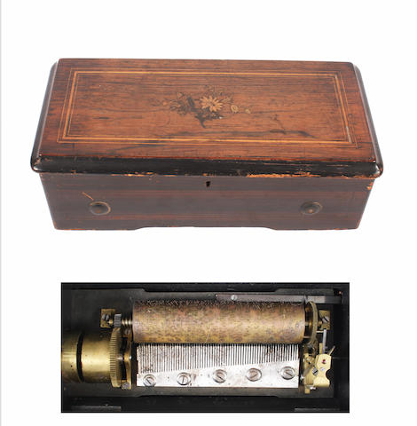 A lever wind four air cylinder musical box, possibly by Bremond, circa 1890,