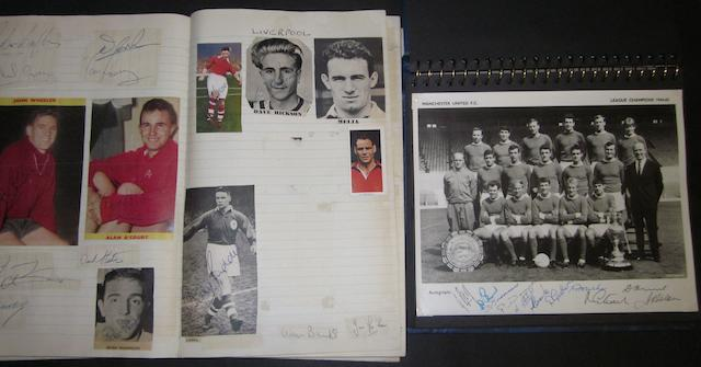 A collection of football autographs including Manchester United champions 1964/65
