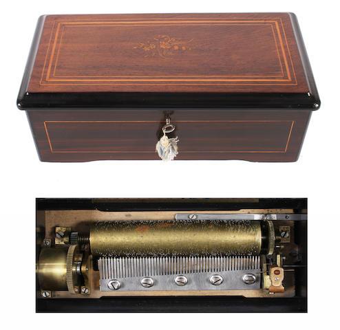 Six air cylinder musical box, circa 1890,