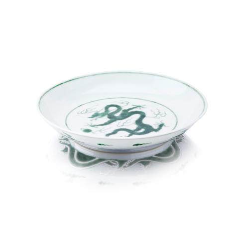 A green-enamelled 'dragon' saucer dish Bearing a Qianlong seal mark