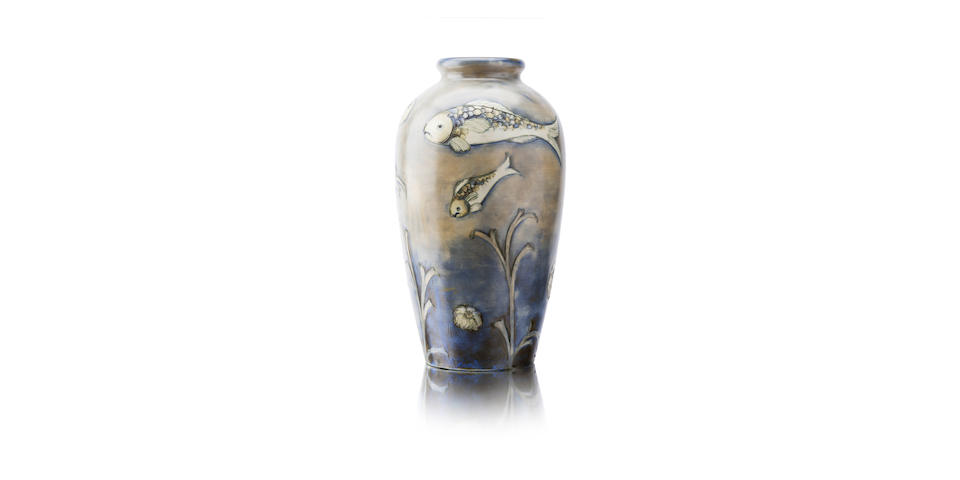 A William Moorcroft salt glazed 'fish' vase Circa 1930