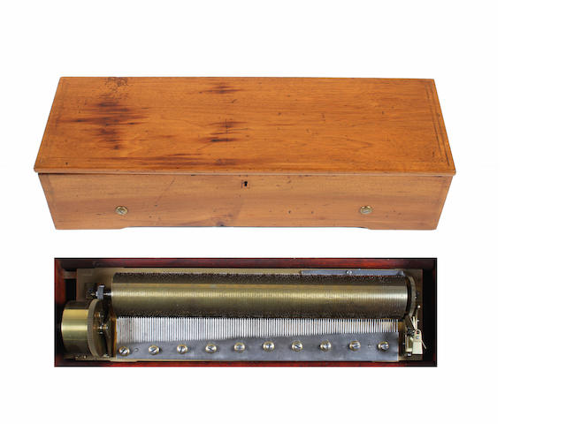 An early key-wind two-per-turn musical box playing twelve airs, by Metert, circa 1844,