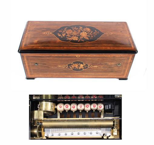 A Weill & Harburg lever wind cylinder musical box, circa 1890,