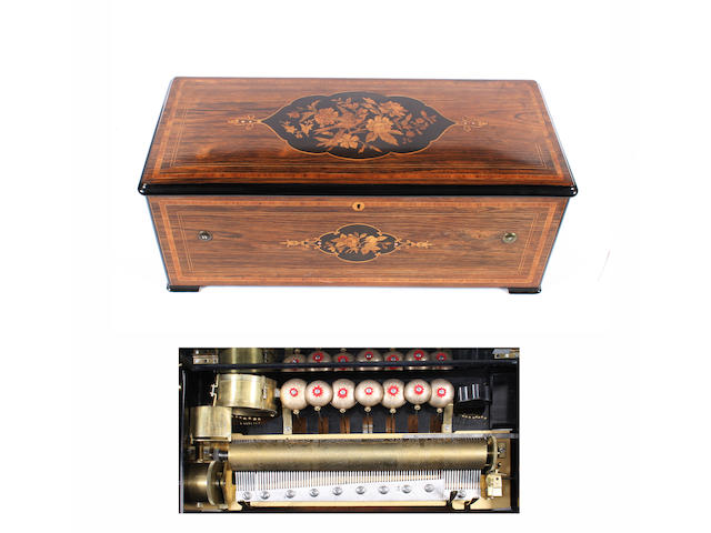 2A Weill & Harburg lever wind cylinder musical box, circa 1890,
