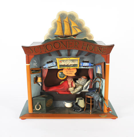 A Frank Nelson automaton 'Schooner House', Signed 'Frank Nelson 11 '81',
