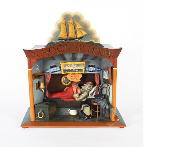 A Frank Nelson automaton 'Schooner House', Signed 'Frank Nelson 11 '81',