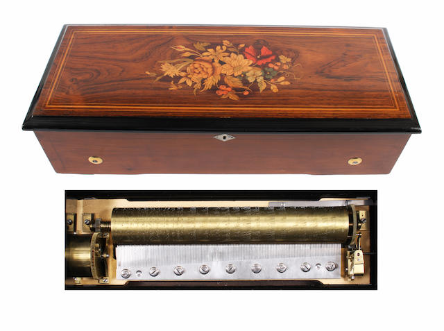A four air mandoline cylinder musical box by Paillard, circa 1883,